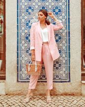 jacket,pink blazer,double breasted,white sandals,cropped pants,woven bag,white top