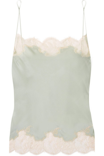 Carine Gilson - Anna Chantilly Lace-trimmed Silk-satin Camisole - Gray green