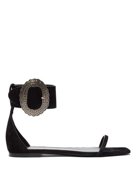 Saint Laurent - Joplin Suede Sandals - Womens - Black
