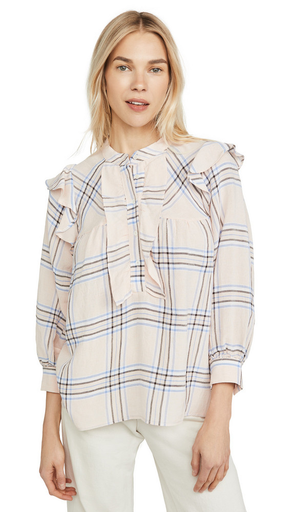 ei8htdreams Plaid Ruffle Blouse in pink
