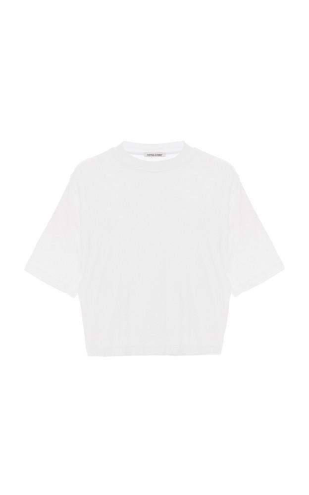 Cotton Citizen Tokyo Cropped Cotton T-Shirt in white