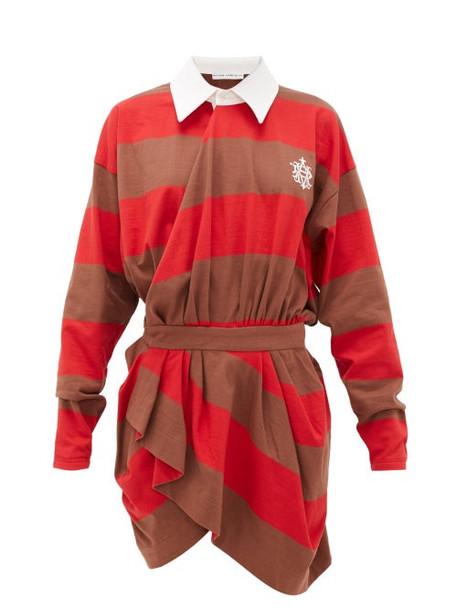 Matthew Adams Dolan - Logo-embroidered Cotton-jersey Rugby Shirtdress - Womens - Red Multi