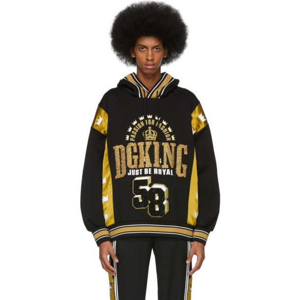 Dolce and Gabbana Dolce & Gabbana Black & Gold 'DG King' Hoodie