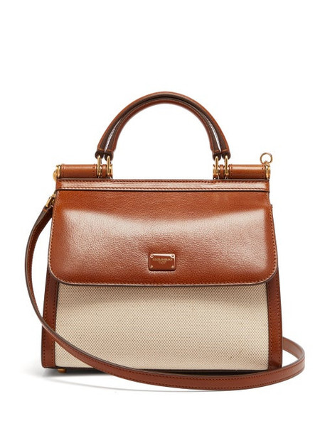 Dolce & Gabbana - Sicily 58 Small Leather And Canvas Bag - Womens - Beige Multi