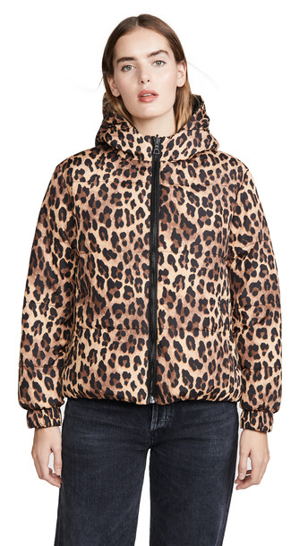 alice + olivia alice + olivia Durham PR Reversible Hooded Puffer Coat in black / tan / leopard