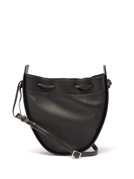 The Row - Drawstring Grained Leather Cross Body Bag - Womens - Black