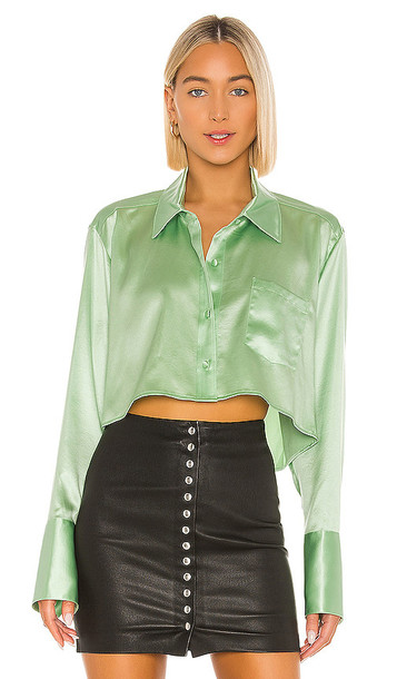 T by Alexander Wang Wet Shine & Go Cropped Blouse in Mint