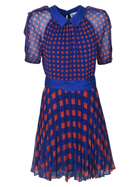 self-portrait Self Portrait Gingham Printed Dress in blue / orange