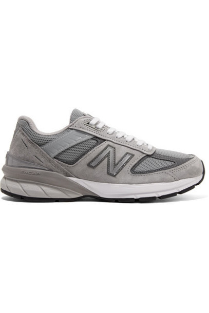 New Balance - 990v5 Suede And Mesh Sneakers - Gray