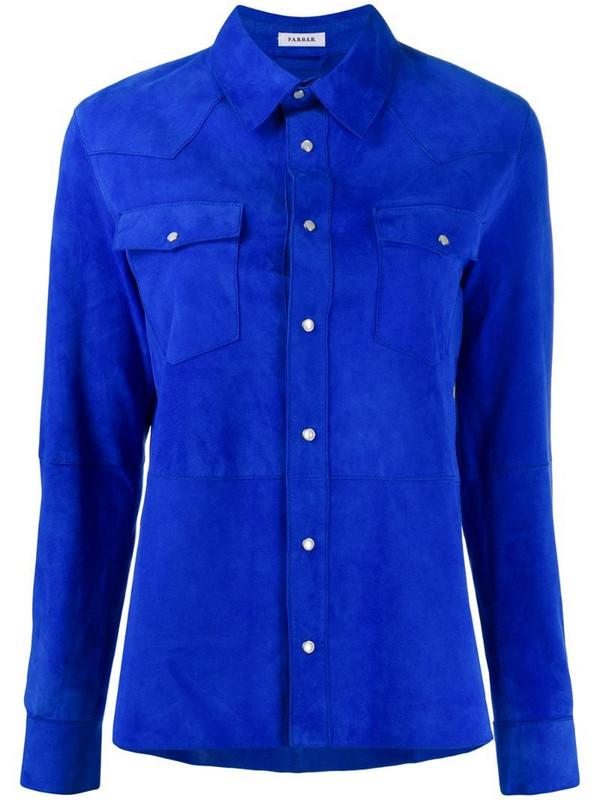 P.A.R.O.S.H. plain suede shirt in blue
