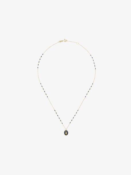 Gigi Clozeau blue and yellow gold penguin charm necklace