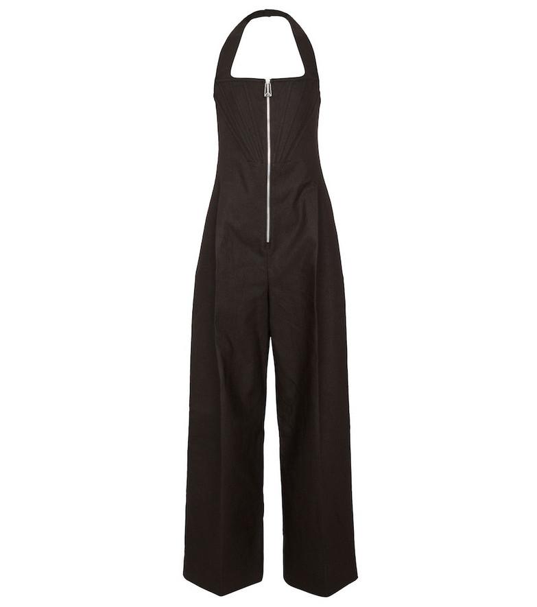 Bottega Veneta Linen-blend wide-leg jumpsuit in brown