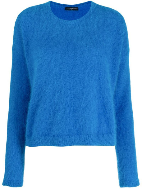 High by Claire Campbell fuzzy sweatshirt in blue