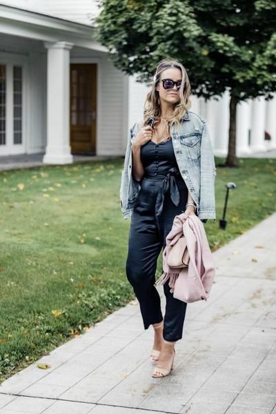 live more beautifully blogger jacket jumpsuit top scarf shoes jewels blue jumpsuit denim jacket sandals