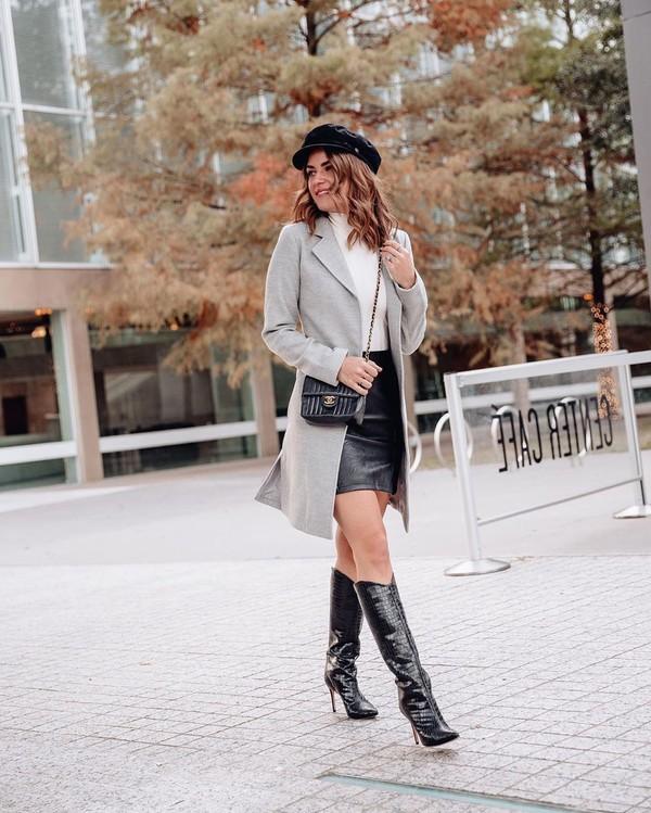 coat long coat knee high boots black bag midi skirt leather skirt white turtleneck top beret