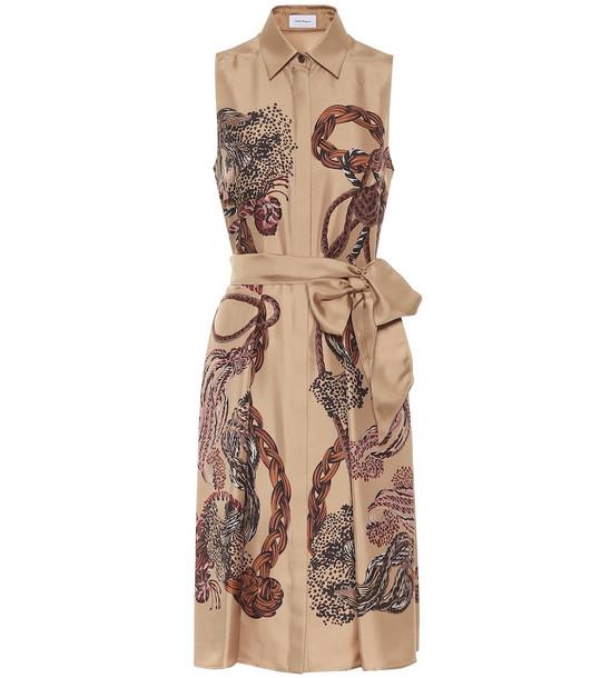 Salvatore Ferragamo Printed silk twill midi dress in beige