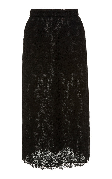 Brock Collection Cotton-Blend Lace Midi Skirt Size: 10 in black