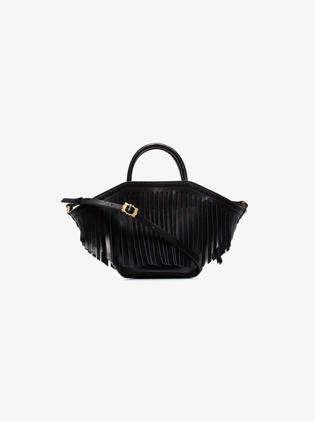 Trademark black small leather fringed tote bag