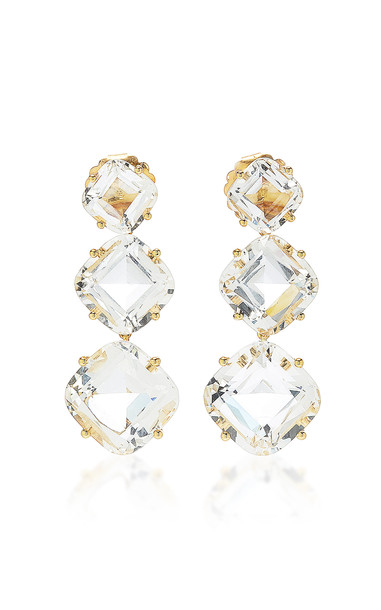 Goshwara Gossip 18K Yellow Gold Diamond and Rock Crystal Earrings