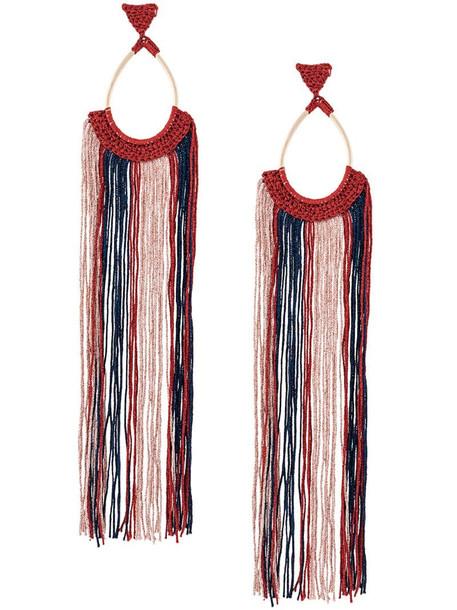 Missoni oversized tassel earrings in blue
