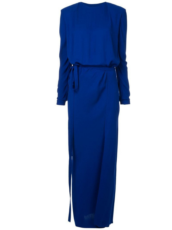 Haider Ackermann long fitted dress in blue