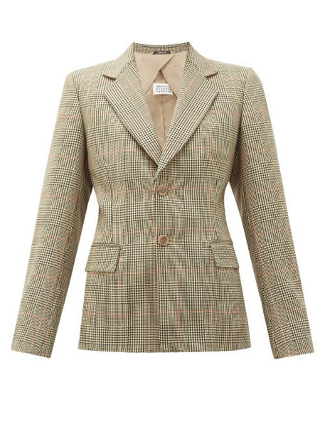 Maison Margiela - Single Breasted Prince Of Wales Check Blazer - Womens - Green Multi