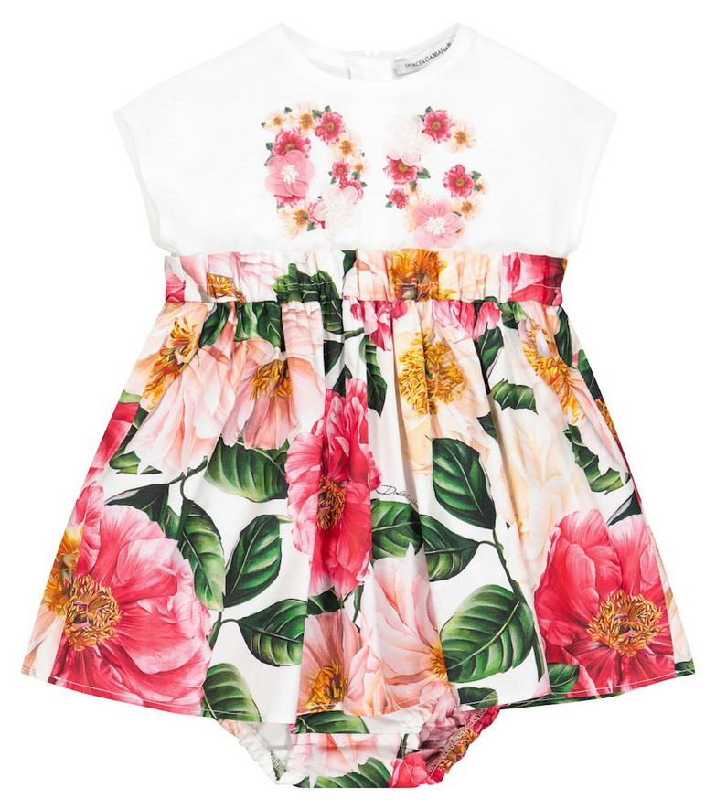 Dolce & Gabbana Kids Baby floral cotton dress and bloomers set in pink