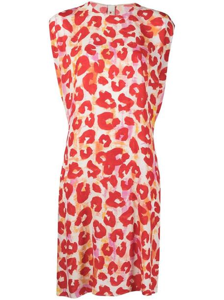 Marni leopard print shift dress in red