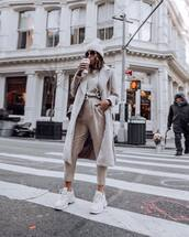 pants,high waisted pants,white sneakers,long coat,top,beanie