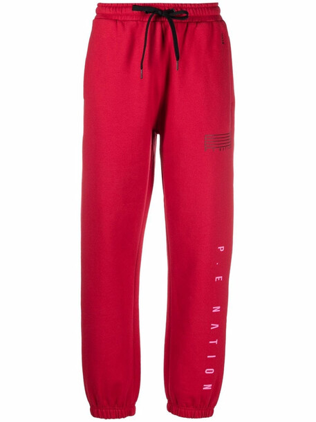 P.E Nation Courtside logo-print track pants - Red