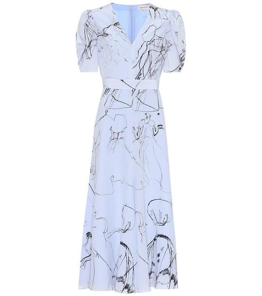 Alexander McQueen Printed silk midi dress in blue