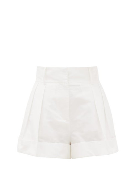 Valentino - High-rise Pleated Cotton-blend Shorts - Womens - White
