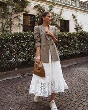dress,white dress,lace dress,midi dress,white sneakers,plaid blazer,bag