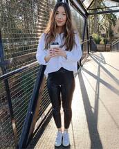 pants,leather leggings,white sneakers,trainers,white shirt,oversized shirt,casual