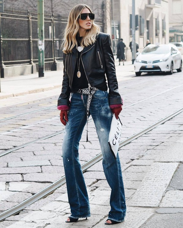 jacket black leather jacket cropped jacket flare jeans black sandals celine bag gloves black top sunglasses necklace