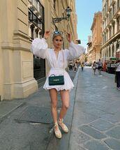 top,white top,white blouse,puffed sleeves,white skirt,mini skirt,platform shoes,black bag