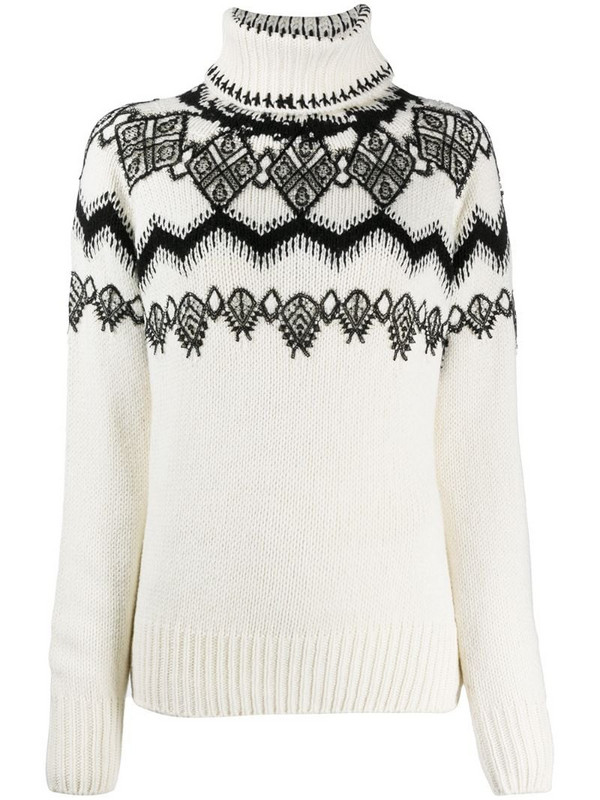 Ermanno Scervino knitted jumper with lace appliqué in white