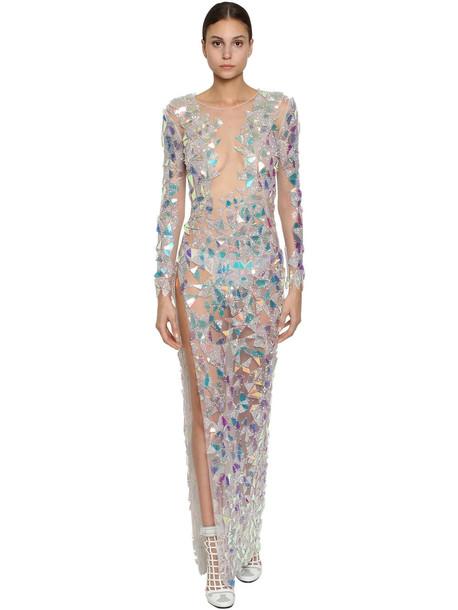 BYBLOS Embellished Stretch Tulle Dress