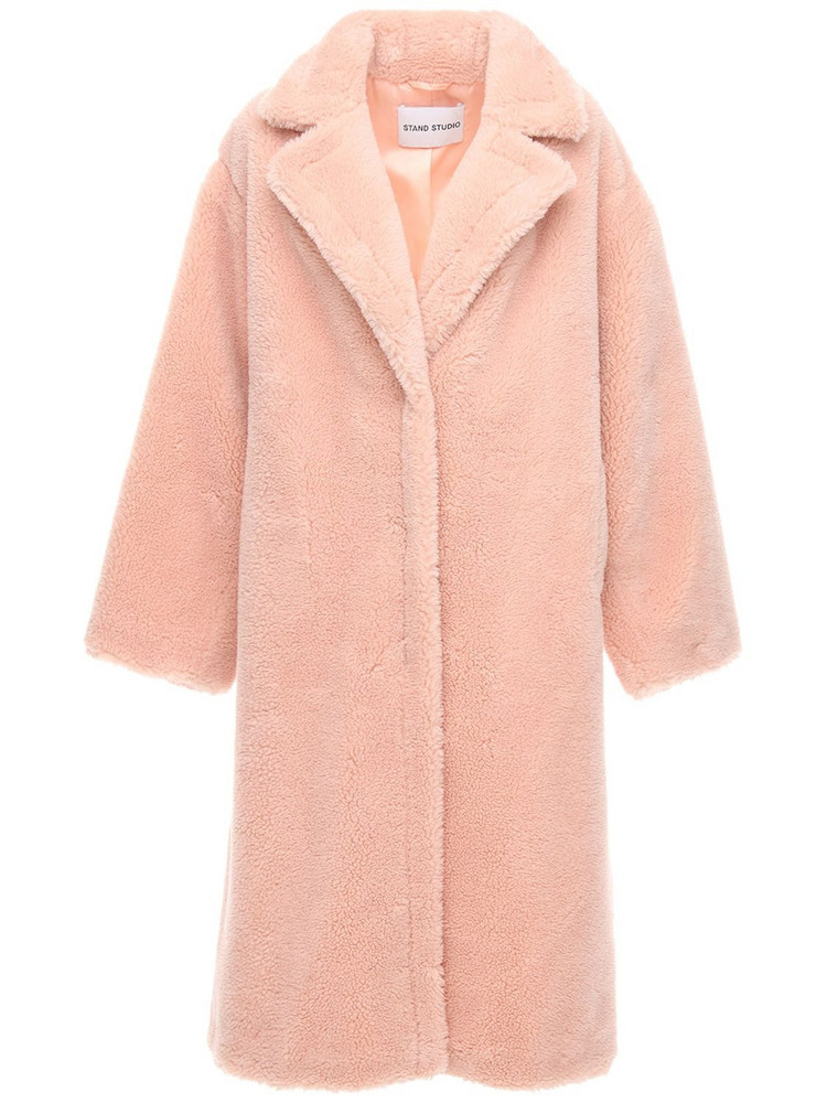 STAND Maria Faux Teddy Long Coat in pink