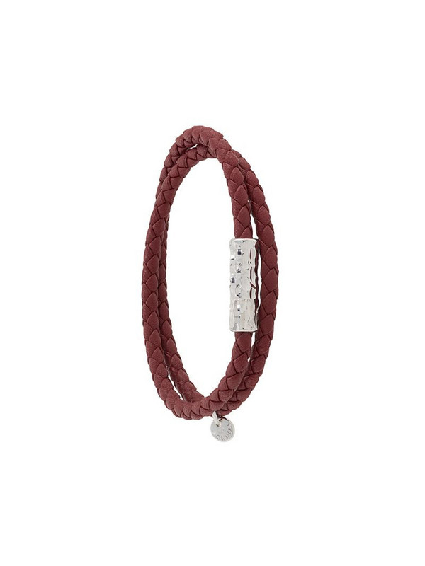 Tateossian faceted-clasp woven bracelet in red