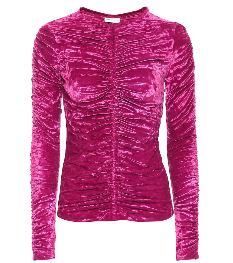 Dries Van Noten Velvet top in pink