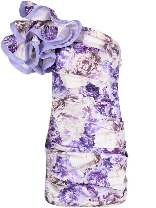 Elisabetta Franchi ruffled floral print dress in purple