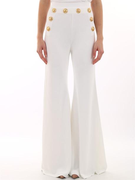 Balmain White Pants Gold Buttons