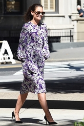 dress,midi dress,katie holmes,fashion week,celebrity,fall dress