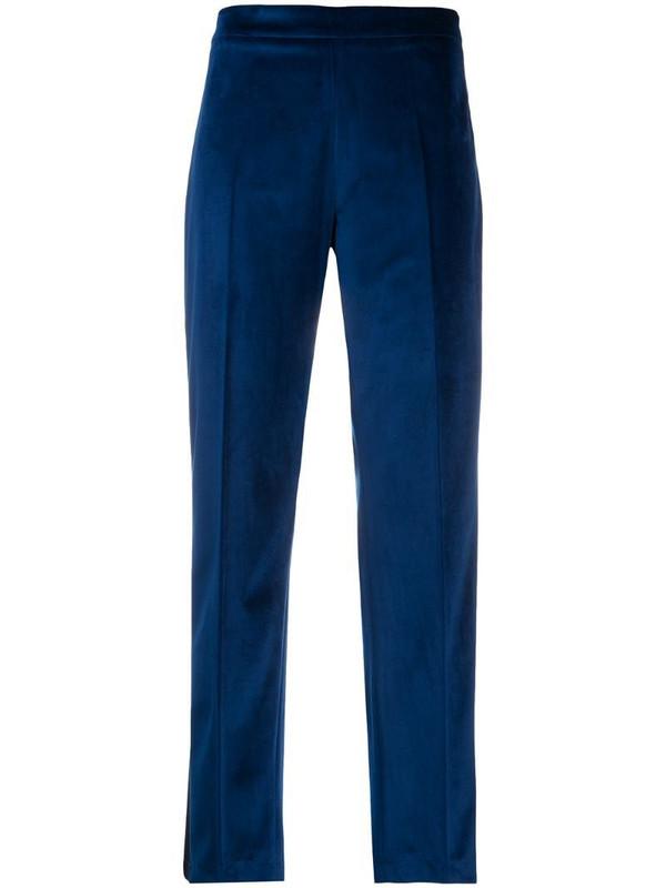 Hebe Studio ankle-crop velvet tuxedo trousers in blue