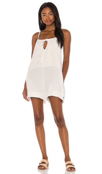 One Teaspoon Embroidered Fisherman Cloth Island Playsuit in White in natural