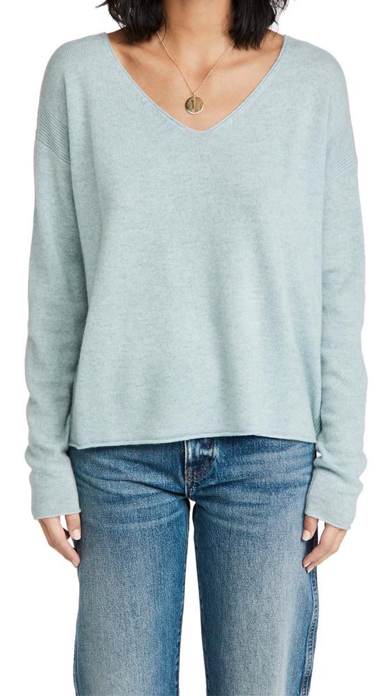 Le Kasha Tibet V Neck Cashmere Sweater in blue