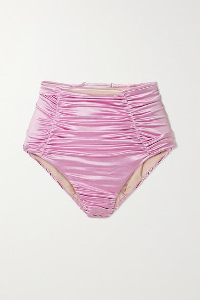 Isa Boulder - Sculpture Cutout Ruched Stretch-satin Bikini Briefs - Pink