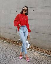 shoes,mules,high waisted jeans,cropped jeans,white bag,blouse,polka dots