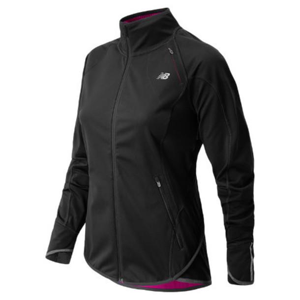 New Balance 4307 Women's Windblocker Jacket - Black, Poisonberry (WRJ4307BK)